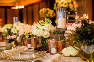 wedding-reception-table-gold-beaded-charger-rose-gold-candle-votives-white-rose-ranunculus-acrylic