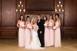 light-pink-mismatched-monique-lhuillier-bridesmaid-dresses