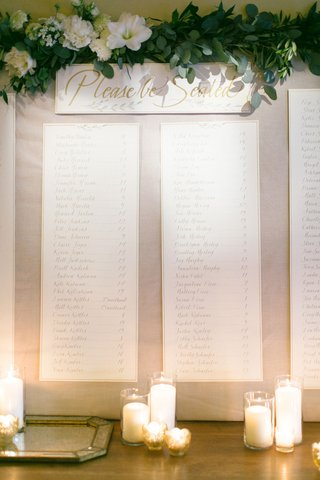 please-be-seated-sign-with-garland-greenery-seating-chart-alphabetical-order-banner-candles