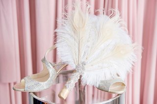 wedding-shoes-bridal-heels-jimmy-choo-silver-peep-toe-metallic-pumps-feather-fan