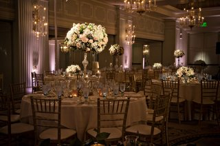 pink-purple-uplighting-ballroom-casa-del-mar-hotel-santa-monica-wedding-tall-flower-arrangements