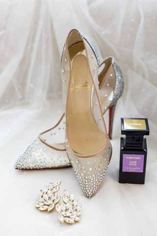 christian-louboutin-wedding-shoes-rhinestone-crystals-on-sheer-pump-tom-ford-perfume-and-ear-cuffs