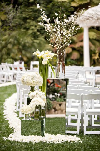 mirror-box-risers-at-hotel-bel-air-wedding-ceremony-white-flowers