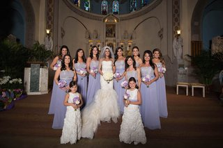 bride-in-vera-wang-mermaid-dress-and-bridesmaids-in-strapless-lavender-alvina-valenta-gowns