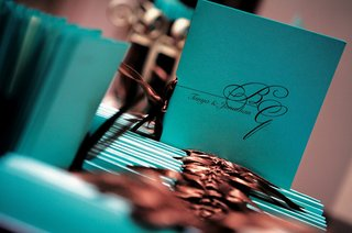 ceremony-program-in-bright-blue-with-brown-ribbon