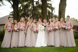 bride-in-strapless-legends-romona-keveza-wedding-dress-bridesmaids-taupe-dresses-mismatch-necklines