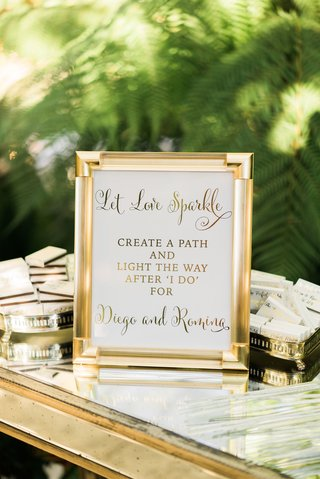 gold-frame-with-let-love-sparkle-sign-for-ceremony-sparkler-exit-with-matches