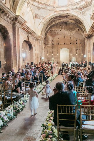destination-wedding-ceremony-guatemala-church-antigua-stone-aisle-flower-girls-in-flower-crowns