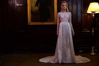 berta-bridal-fall-winter-2016-wedding-dress-long-sleeve-train-silver-beading-pleated-skirt