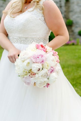 wedding-bouquet-pink-and-white-rose-and-peony-flowers-wedding-dress-jewel-sash-belt