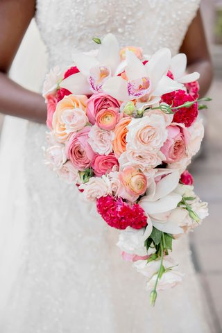 cascading-bouquet-with-pink-peach-orange-white-roses-orchids-hot-pink-cockscomb-celosia-flowers
