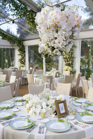 ivory-linens-with-light-blue-wedding-plates-and-orchid-centerpiece