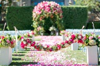 green-hydrangea-hot-pink-rose-white-rose-flower-garland-over-flower-petal-aisle-langham-pasadena