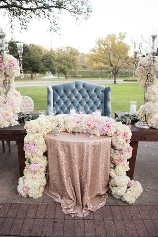plush-dusty-blue-love-seat-sweetheart-table-rose-gold-sequin-linen-floral-runner