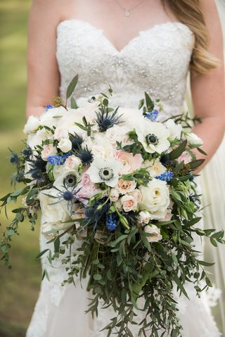 bouquet-with-lots-of-greenery-anemone-roses-scottish-thistle