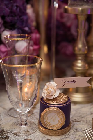 purple-gold-place-card-bold-feminine-wedding-styled-shoot-ornate-design-patterns