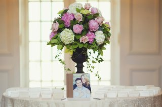 seating-cards-and-guestbook-around-pink-floral-arrangement