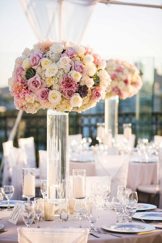 tall-wedding-flower-arrangement-with-white-rose-hydrangea-pink-rose-dahlia-and-succulent-flowers