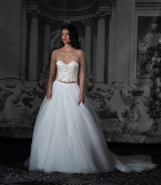 sarah-jassir-la-dolce-vita-2016-two-piece-wedding-dress-with-gold-beaded-long-sleeve-bodice