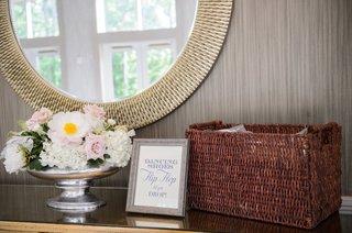 wedding-reception-dancing-shoes-flip-flop-til-you-drop-pink-anemone-pink-rose-white-hydrangea-mirror