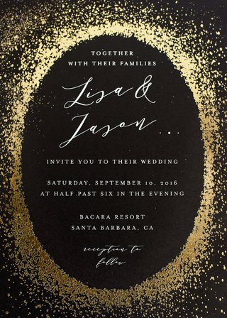 minted-wedding-invitation-black-paper-with-info-in-oval-surrounded-by-gold