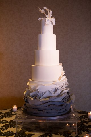 five-layer-wedding-cake-ombre-grey-charcoal-ruffles-torn-paper-sugar-flower-topper-fondant