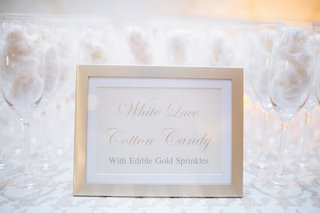 white-lace-cotton-candy-at-wedding-with-gold-sprinkles