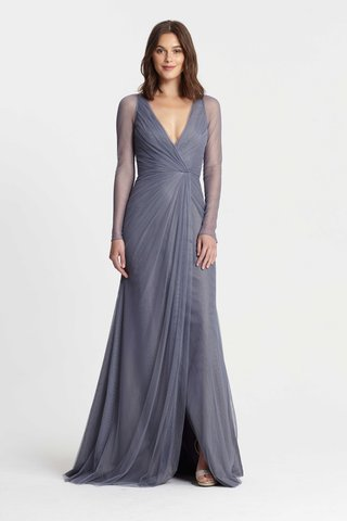 monique-lhuillier-bridesmaids-spring-2017-long-sleeve-v-neck-bridesmaid-dress-gathered-at-waist-long