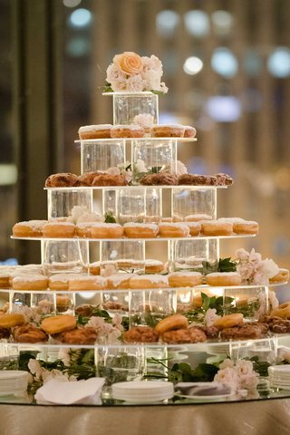wedding-reception-donuts-on-acrylic-tower-dessert-tower-sweets-table