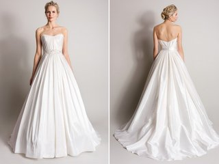 white-strapless-pleated-ball-gown-by-suzanne-neville