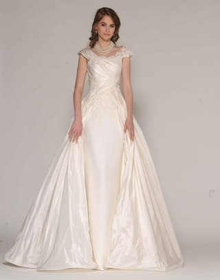 eugenia-couture-fall-2016-sheath-wedding-dress-with-silk-taffeta-over-dress-and-cap-sleeves