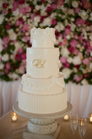 white-wedding-cake-with-classic-piping-and-gold-monogram