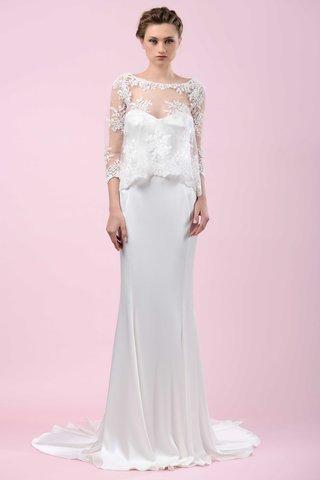 gemy-maalouf-2016-sheath-wedding-dress-with-three-quarter-sleeve-lace-sheer-shirt
