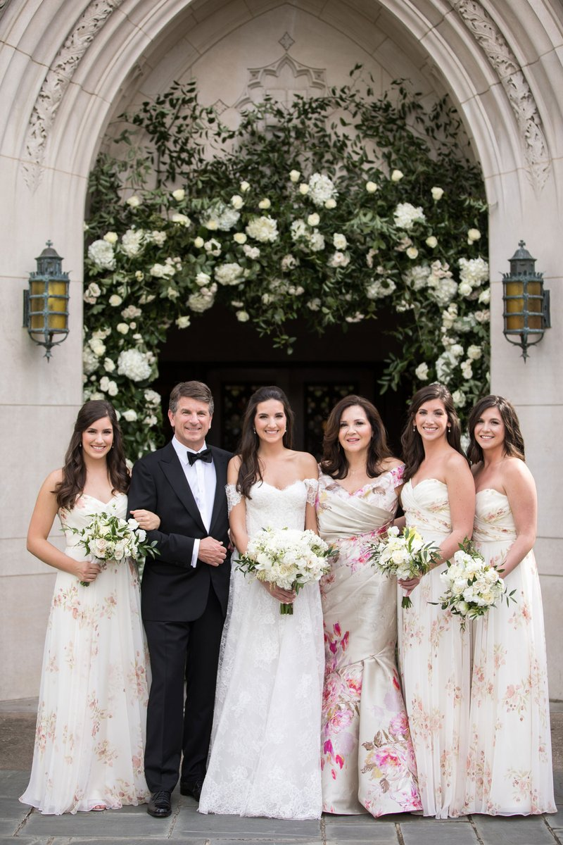 Bride with Parents & Sisters in Floral Print
