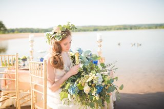 bride-wearing-flower-crown-with-greenery-greenery-bouquet