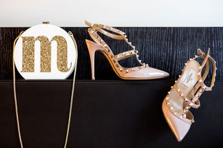m-glitter-initial-on-white-bag-with-gold-chain-and-nude-valentino-shoes-with-studs-wedding-day