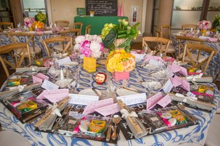 blue-and-white-table-linens-cursive-with-kid-school-theme-placemats-pencil-and-eraser-centerpieces