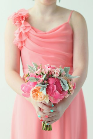 bridesmaid-bouquet-of-pink-peonies-roses-and-orange-garden-roses-and-dusty-miller