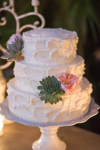 white-wedding-cake-with-textured-buttercream-frosting-pink-garden-roses-succulents