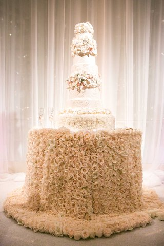 tall-white-wedding-cake-with-sugar-flower-tiers-on-top-of-blush-pink-rose-tablecloth-table-design