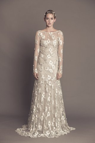francesca-miranda-fall-2016-long-sleeve-champagne-wedding-dress-with-flower-print-pearl-embroidery