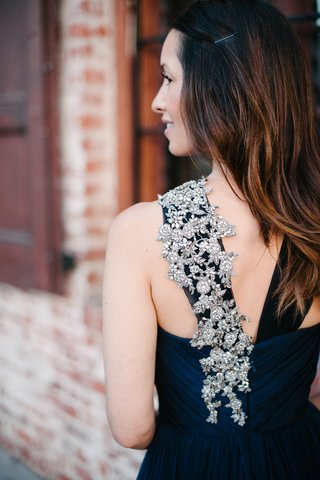 navy-blue-bridesmaid-dress-with-crystal-embellished-strap