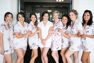 wedding-beauty-pajamas-flower-print-and-bride-in-white-with-mom-bridesmaids
