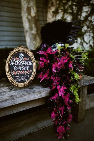 wedding-reception-halloween-theme-accessorize-yourself-compliments-of-the-newlyweds-chalkboard-sign