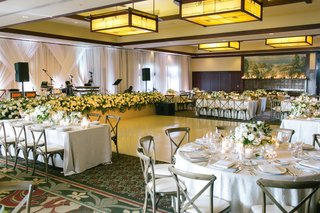 wedding-reception-ballroom-the-lodge-at-torrey-pines-wood-chairs-white-flowers-greenery-dance-floor