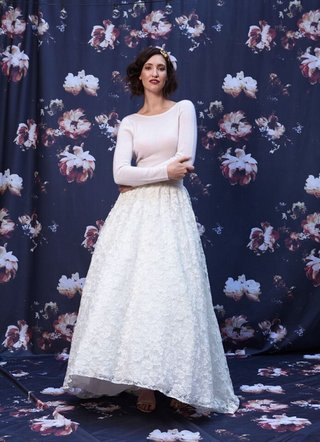 two-piece-wedding-dress-with-lace-skirt-and-long-sleeve-top-by-ivy-and-aster-fall-2016