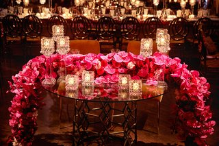 wedding-reception-sweetheart-table-crystal-candle-holder-pink-red-rose-orchid-flower-runner-votives