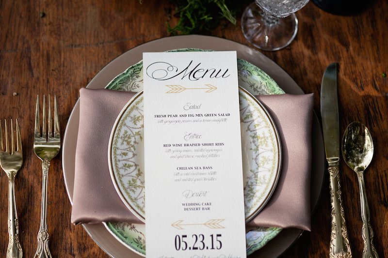 Menu on Elegant Place Setting