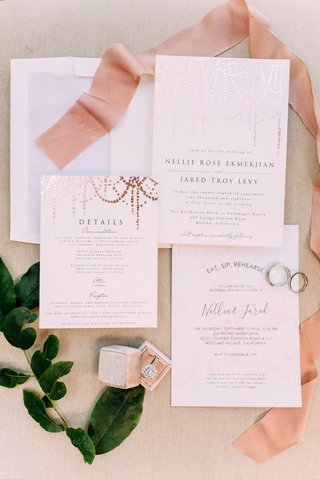 minted-wedding-invitation-with-rose-gold-details-foil-elements-pink-ribbon-mrs-box
