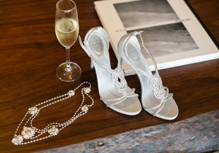 brides-wedding-day-accessories-headpiece-and-rene-caovilla-heels-sandals-crystal-details-straps